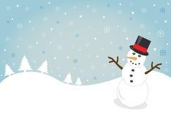 Snowy Christmas. Merry snowy Christmas snowman trees Stock Photography