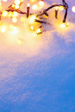 Snowy Christmas background. Art blue Snowy Christmas lights background royalty free stock photo