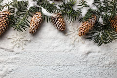 Snowy christmas background with fir branch and pine cones. Royalty Free Stock Images