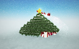 Snowy Christmas Background. Gifts under Christmas Tree and flyin Stock Photos