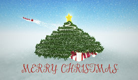 Snowy Christmas Background. Gifts under Christmas Tree and flyin Stock Image