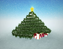 Snowy Christmas Background. Gifts under Christmas Tree. Snowy Christmas Background.Gifts under Christmas Tree Royalty Free Stock Images