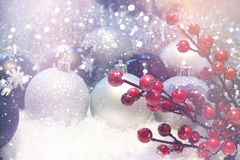 Snowy Christmas background with retro effect Royalty Free Stock Image