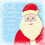 Snowy Christmas Background with Santa Claus Stock Photo