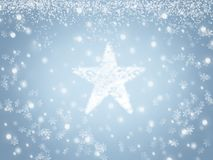 Snowy Christmas background with snow star and snowflakes in winter. Snowy Christmas background with snow star and snowflakes. Snowfall in winter Royalty Free Stock Photography