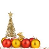Snowy Christmas balls and gold stars Stock Photography