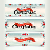Snowy christmas banners Stock Photography