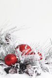 Snowy Christmas Branches with Ornaments 2 Stock Image