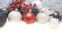 Snowy Christmas decorations Royalty Free Stock Photography