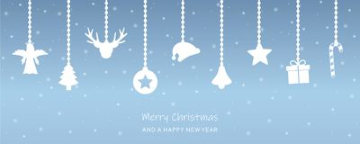 Snowy christmas greeting card with hanging decoration stock illustration