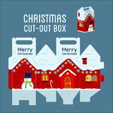 Snowy christmas house box. Souvenirs for Christmas and New Year Stock Photos