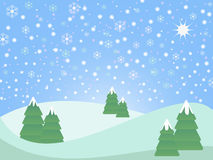 Snowy christmas landscape Stock Photos