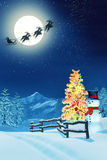Snowy Christmas landscape at night Stock Photos