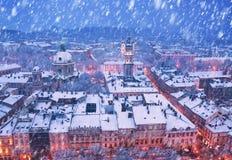 Snowy Christmas Lviv Royalty Free Stock Photos