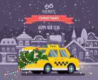 Snowy Christmas night. City street with taxi car carrying Xmas tree with lights. Happy New Year vector illustration