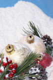 Snowy Christmas Pines Baubles Stock Photo