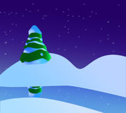 A Snowy Christmas Scene With Christmas Tree, River And Stars.  stock illustration