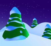 A Snowy Christmas Scene With Christmas Trees And Stars.  vector illustration