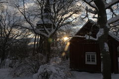 A snowy Christmas scene Stock Photography