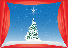 Snowy Christmas Tree Background Stock Photography