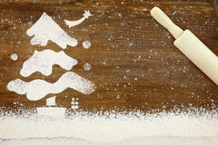 Snowy Christmas tree made of flour Stock Photography