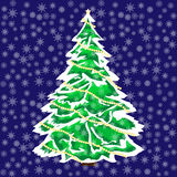 Snowy Christmas tree in the snow background. Snowy Christmas tree in the snow  blue background Royalty Free Stock Photos