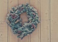 Snowy Christmas Wreath Stock Photography