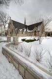 Snowy church stock photo