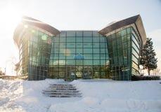 Snowy cinema in Bulgarian Pomorie, winter 2017 stock photos