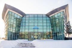 Snowy cinema in Bulgarian Pomorie, winter royalty free stock photos