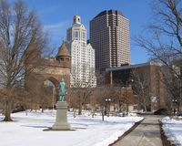 Snowy City. Hartford, Connecticut on a winter day Royalty Free Stock Photography