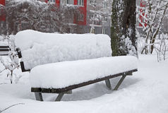 Snowy bench Stock Images