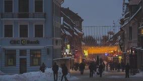 Snowy city center stock video footage