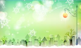 Snowy City with greenish scene. Snowy City with snow flakes falling with greenish background royalty free illustration