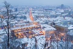 Snowy city. Royalty Free Stock Photography