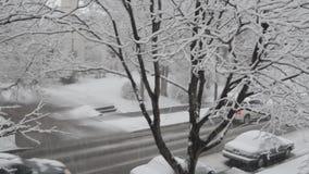 Snowy city stock video footage