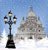 Snowy city wallpaper. Winter Christmas holiday snow background. Stock Photos