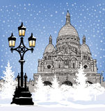 Snowy city wallpaper. Winter holiday snow background. Paris land Royalty Free Stock Image
