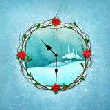 Snowy clock. Greeting card or poster for holiday Christmas with fantasy clock and winter landscape. Computer graphics Vector Illustration