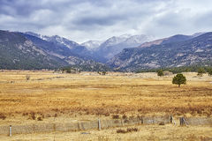 Snowy clouds over Rocky Mountains, Colorado, USA.  stock image