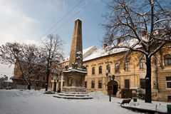 Snowy Cluj. Museum Square in Cluj-Napoca with winter cloths on a cold December afternoon royalty free stock images