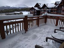 Snowy Colorado ski hotel Stock Image