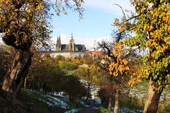 Snowy colorful autumn Prague gothic Castle Royalty Free Stock Image
