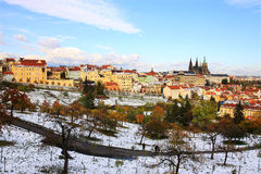 Snowy colorful autumn Prague gothic Castle Royalty Free Stock Images