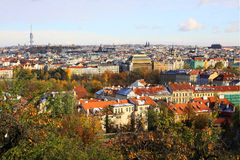 Snowy colorful autumn View on Prague City Royalty Free Stock Images