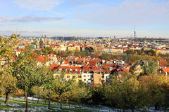 Snowy colorful autumn View on Prague City Royalty Free Stock Photo