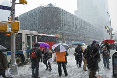 Snowy Commute Royalty Free Stock Images