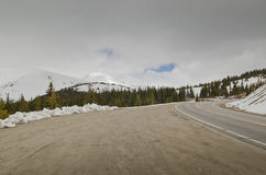 Snowy condition road in Colorado Stock Image