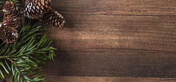 Snowy cones and fir branch on a wood background. Pine cones and fir branch on a wood background Stock Photo