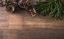 Snowy cones and fir branch on a wood background. Pine cones and fir branch on a wood background Royalty Free Stock Photo